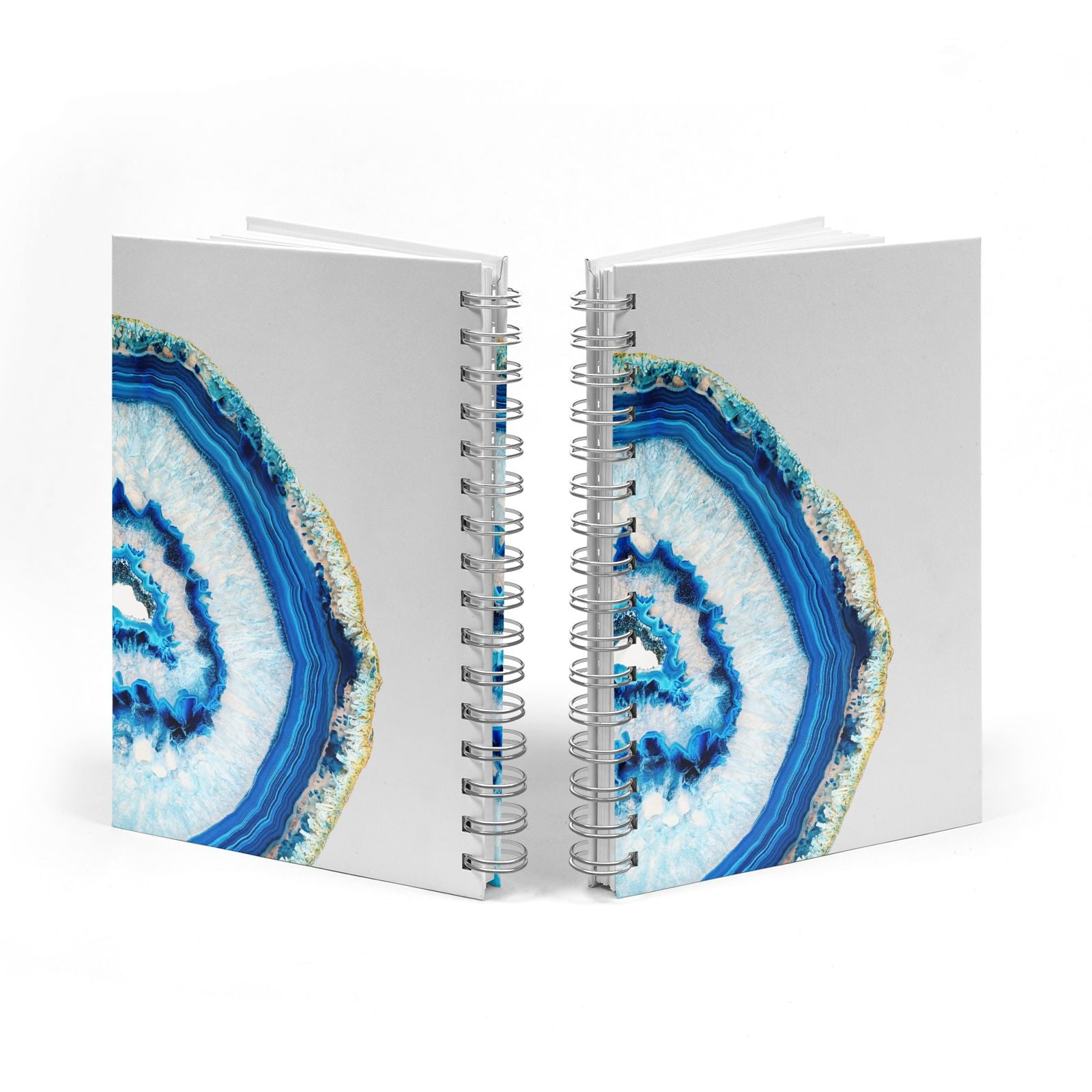 Agate Dark Blue and Turquoise Notebook with Silver Coil Spine View