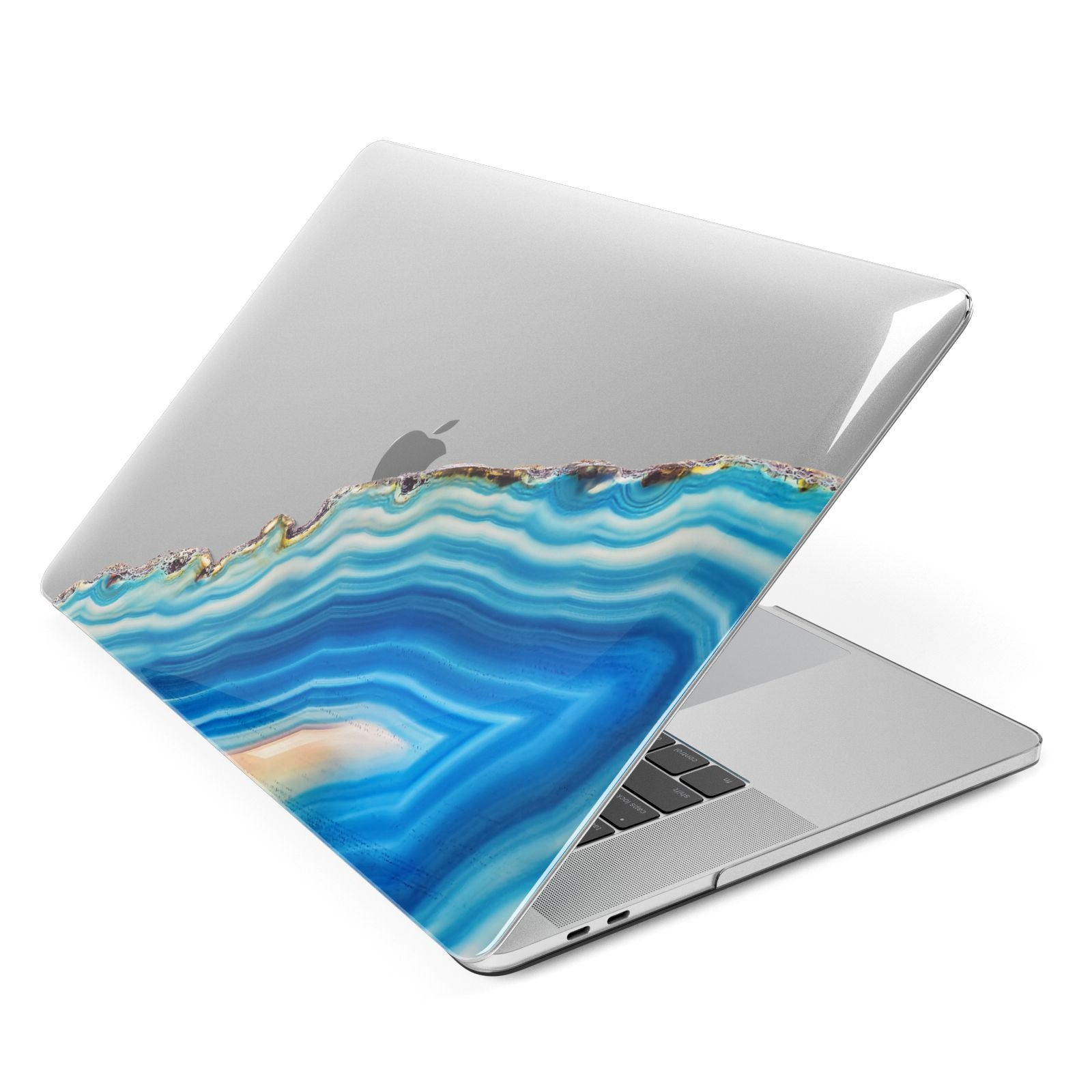 Agate Pale Blue and Bright Blue Apple MacBook Case Side View