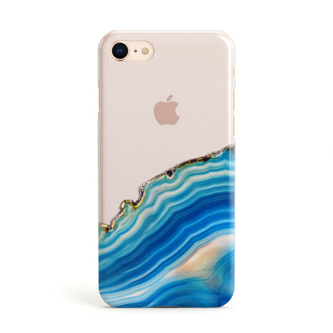 Agate Pale Blue and Bright Blue Apple iPhone Case