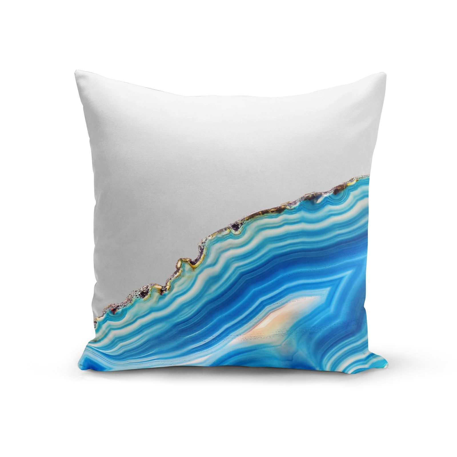 Agate Pale Blue and Bright Blue Cotton Cushion