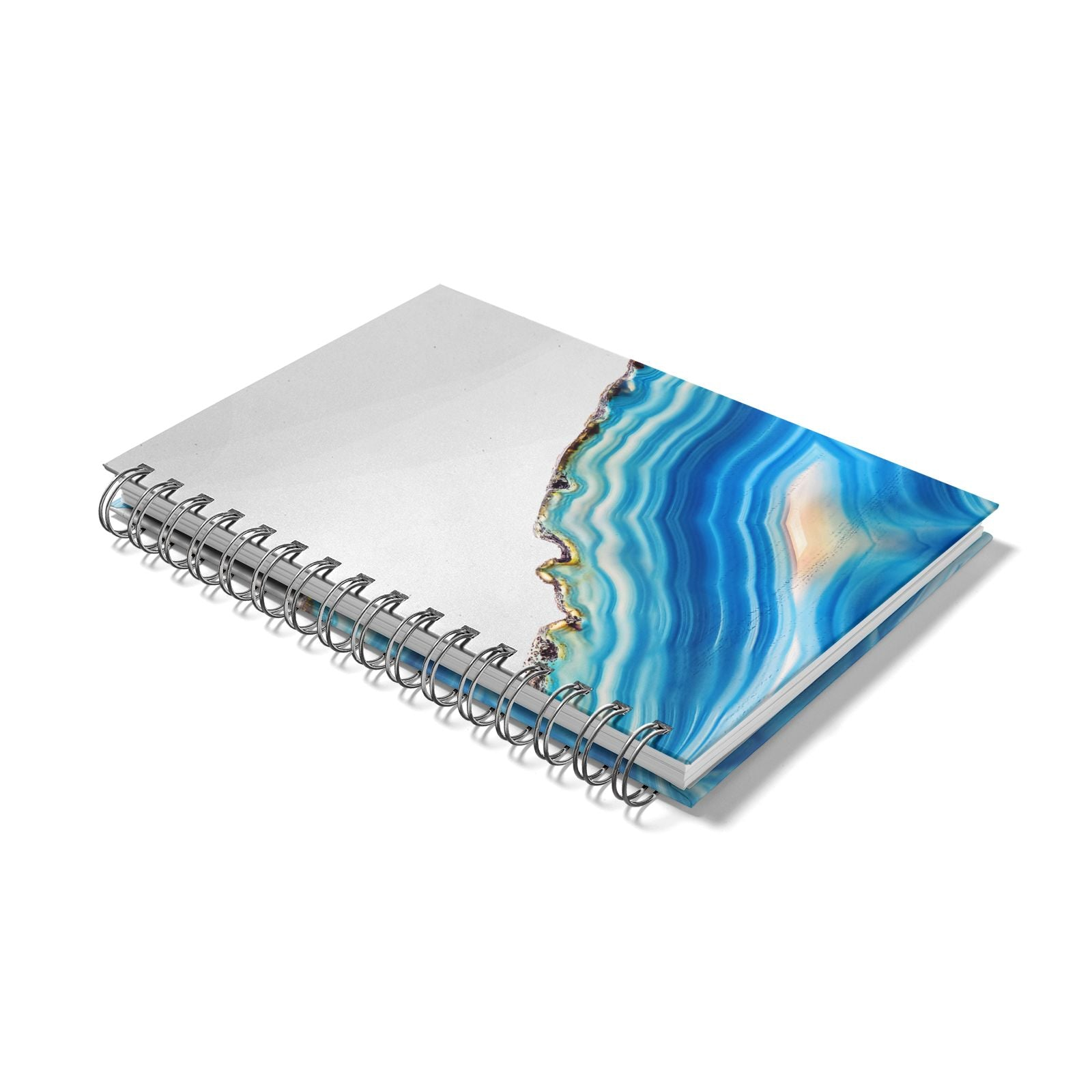 Agate Pale Blue and Bright Blue Notebook with Silver Coil Laid Flat