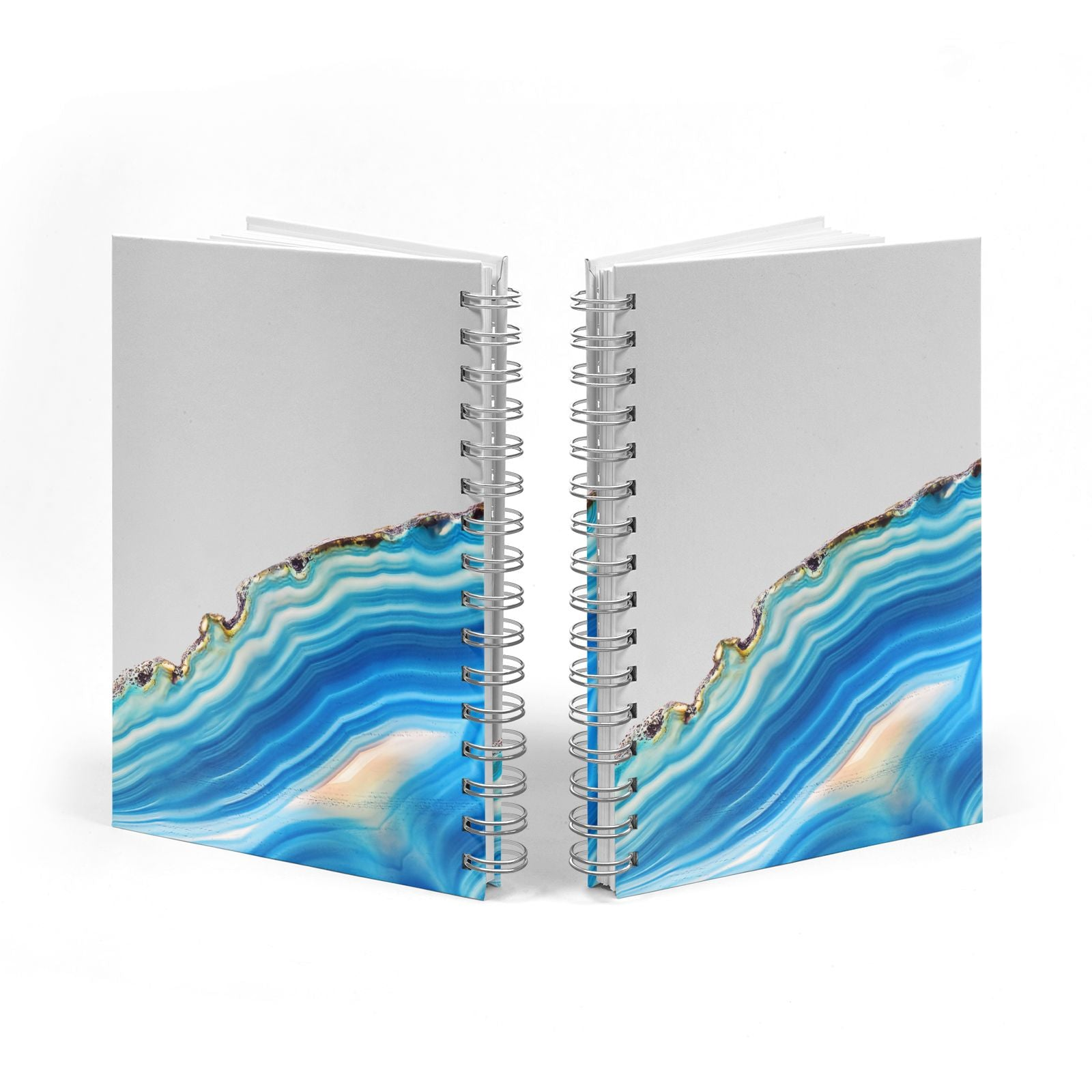 Agate Pale Blue and Bright Blue Notebook with Silver Coil Spine View