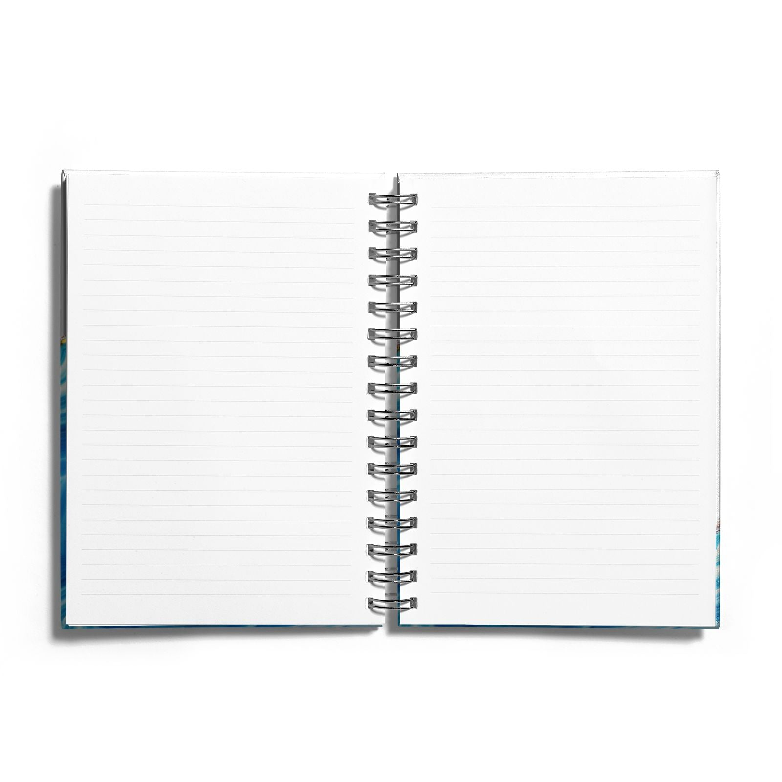 Agate Pale Blue and Bright Blue Notebook with Silver Coil and Lined Paper