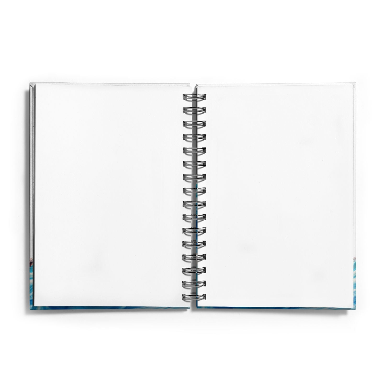 Agate Pale Blue and Bright Blue Notebook with Silver Coil and Plain Paper