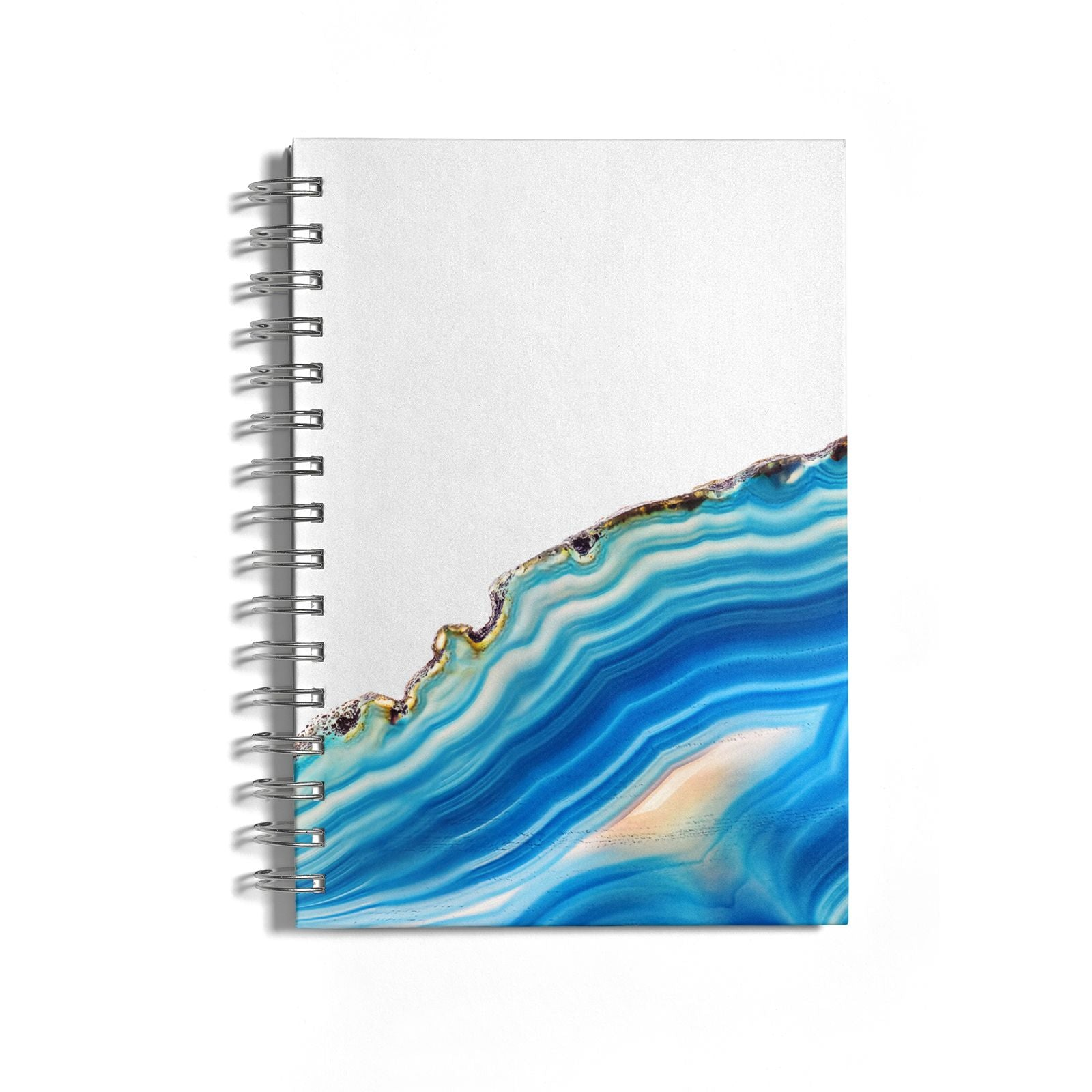 Agate Pale Blue and Bright Blue Notebook with Silver Coil