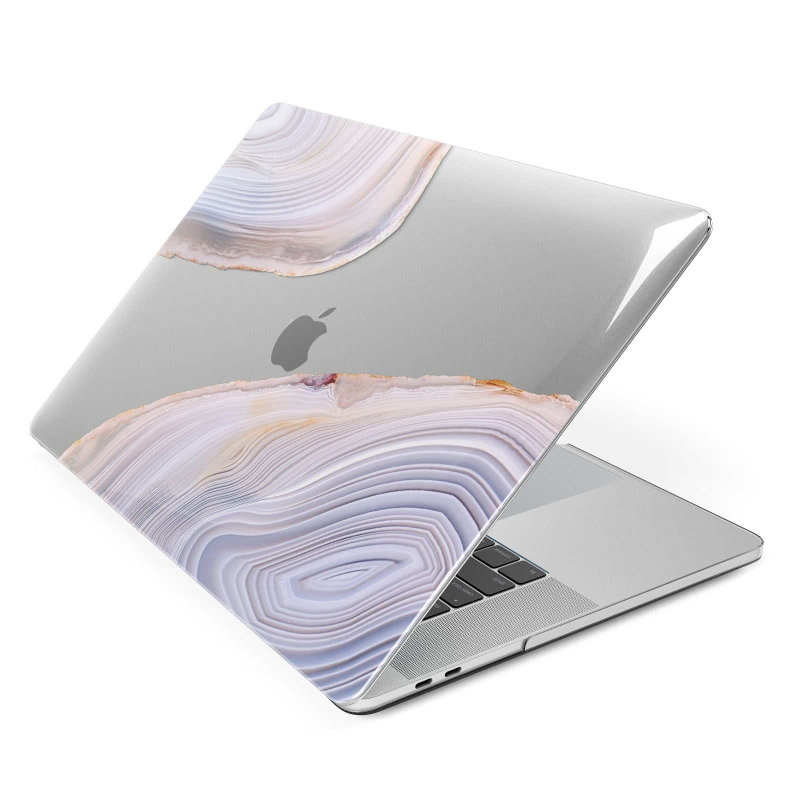 Agate Pale Pink and Blue Apple MacBook Case Side View