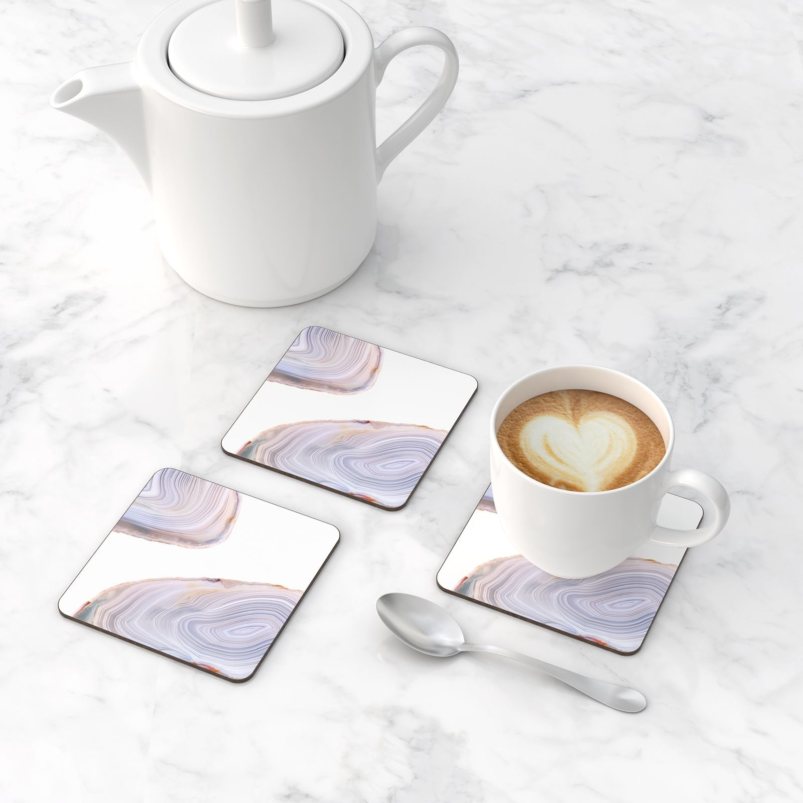 Agate Pale Pink And Blue Coasters Set Of 4