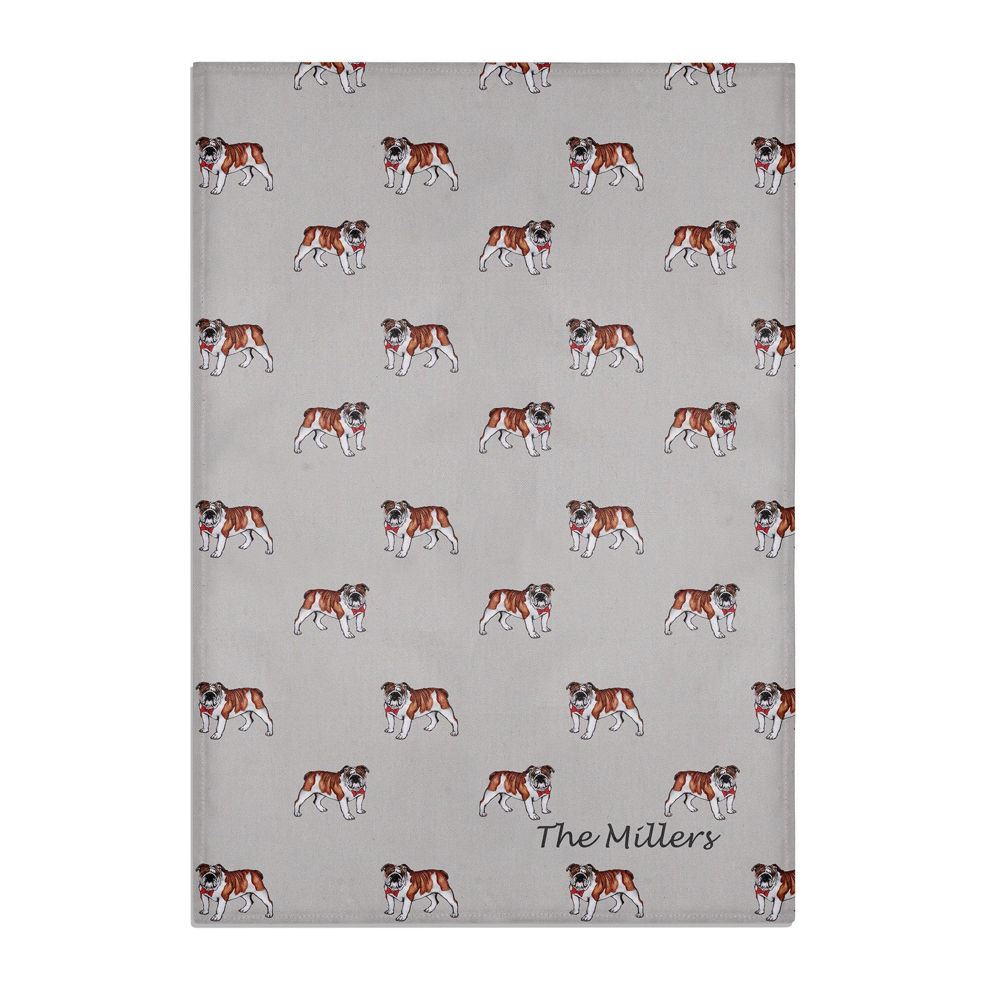 BULLDOG TEA TOWEL PERSONALISED