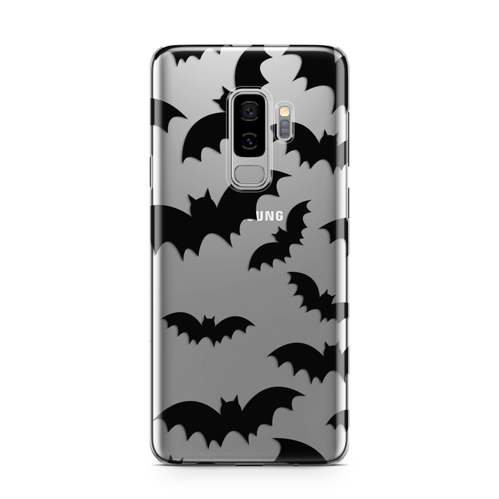 Bat Halloween Print Samsung Galaxy S9 Plus Case on Silver phone