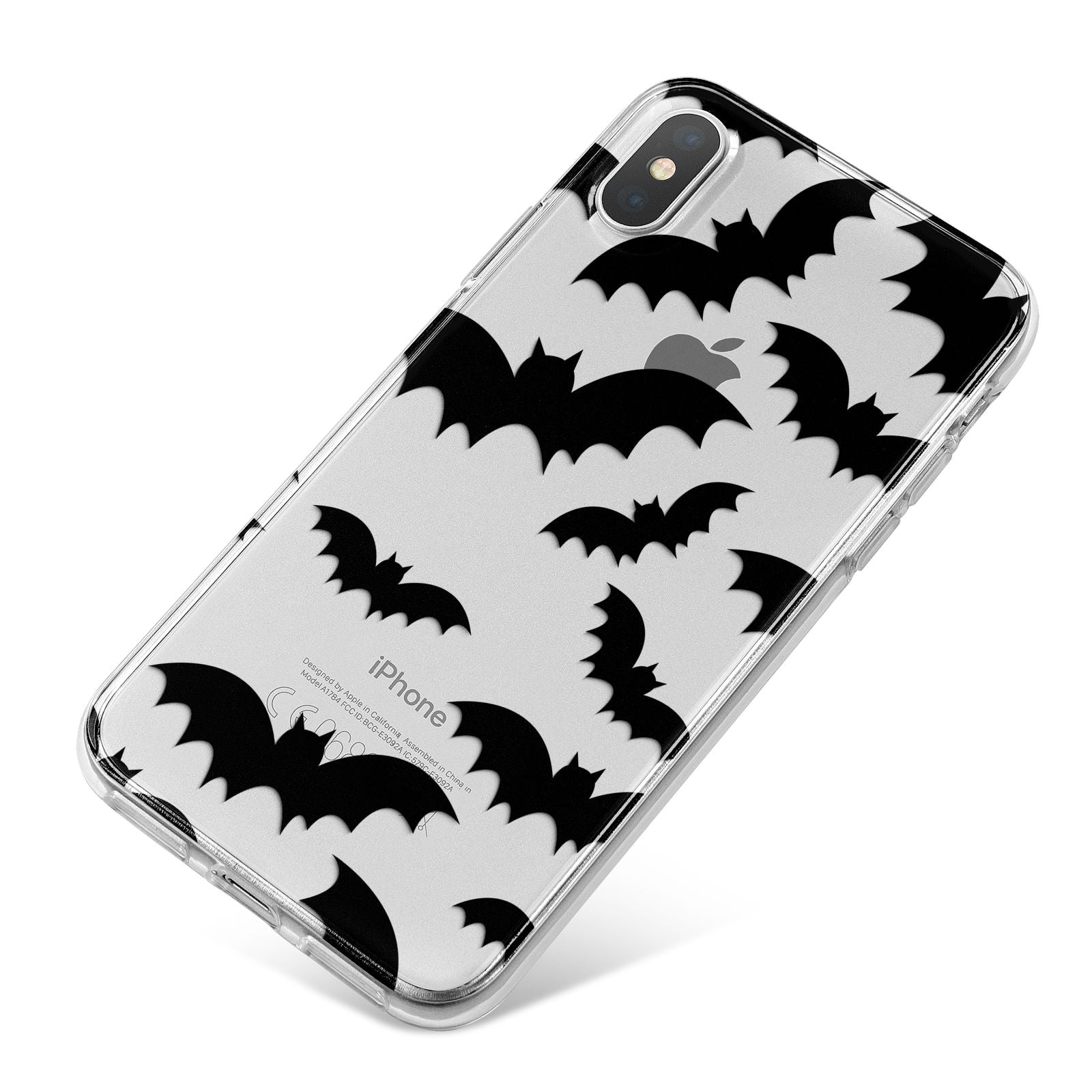 Bat Halloween Print iPhone X Bumper Case on Silver iPhone