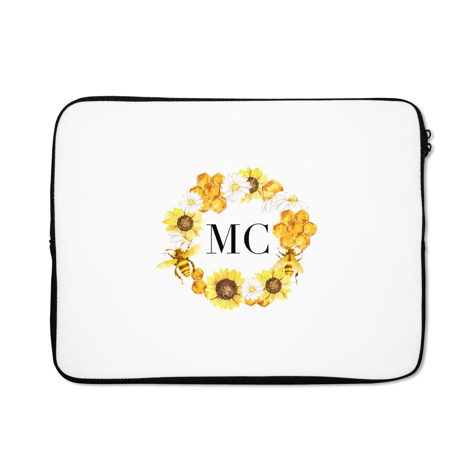 Bee Sunflower Wreath Personalised Initials Laptop Bag
