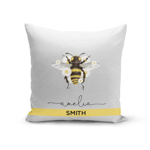 Bees Daisies Personalised Names Cotton Cushion