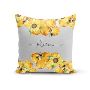Bees Honeycomb Personalised Name Cotton Cushion