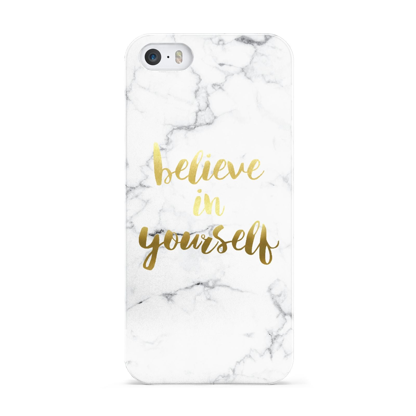 Believe In Yourself Gold Marble Apple iPhone 5 Case