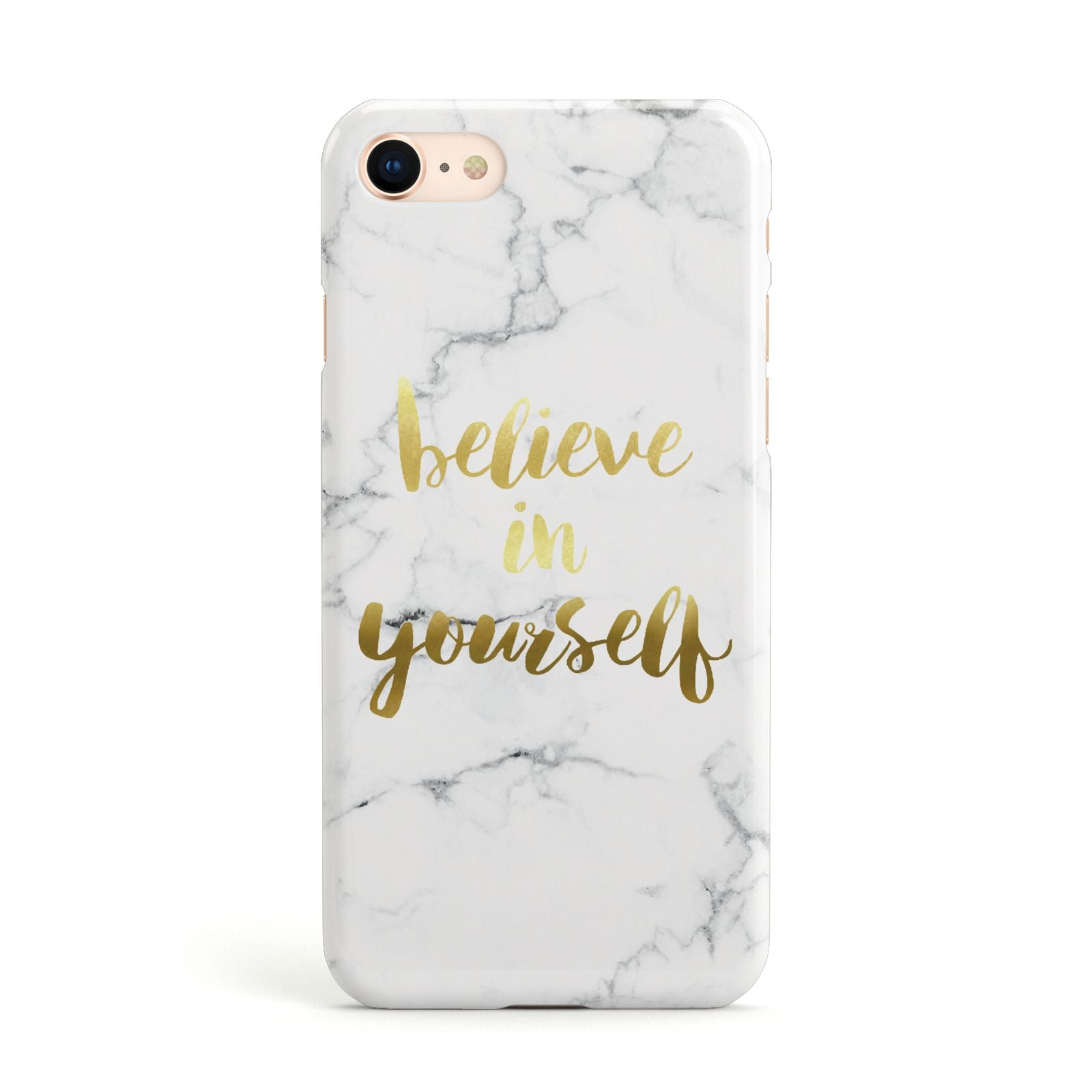 Believe In Yourself Gold Marble Apple iPhone Case