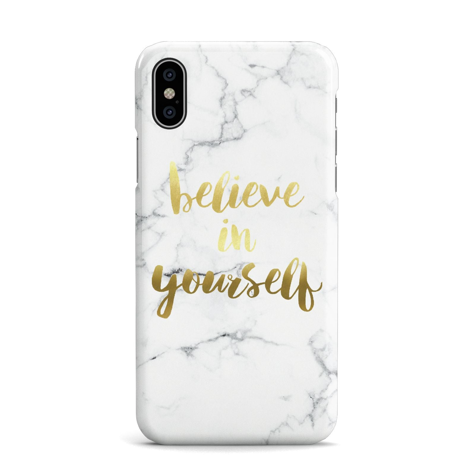 Believe In Yourself Gold Marble Apple iPhone X Case
