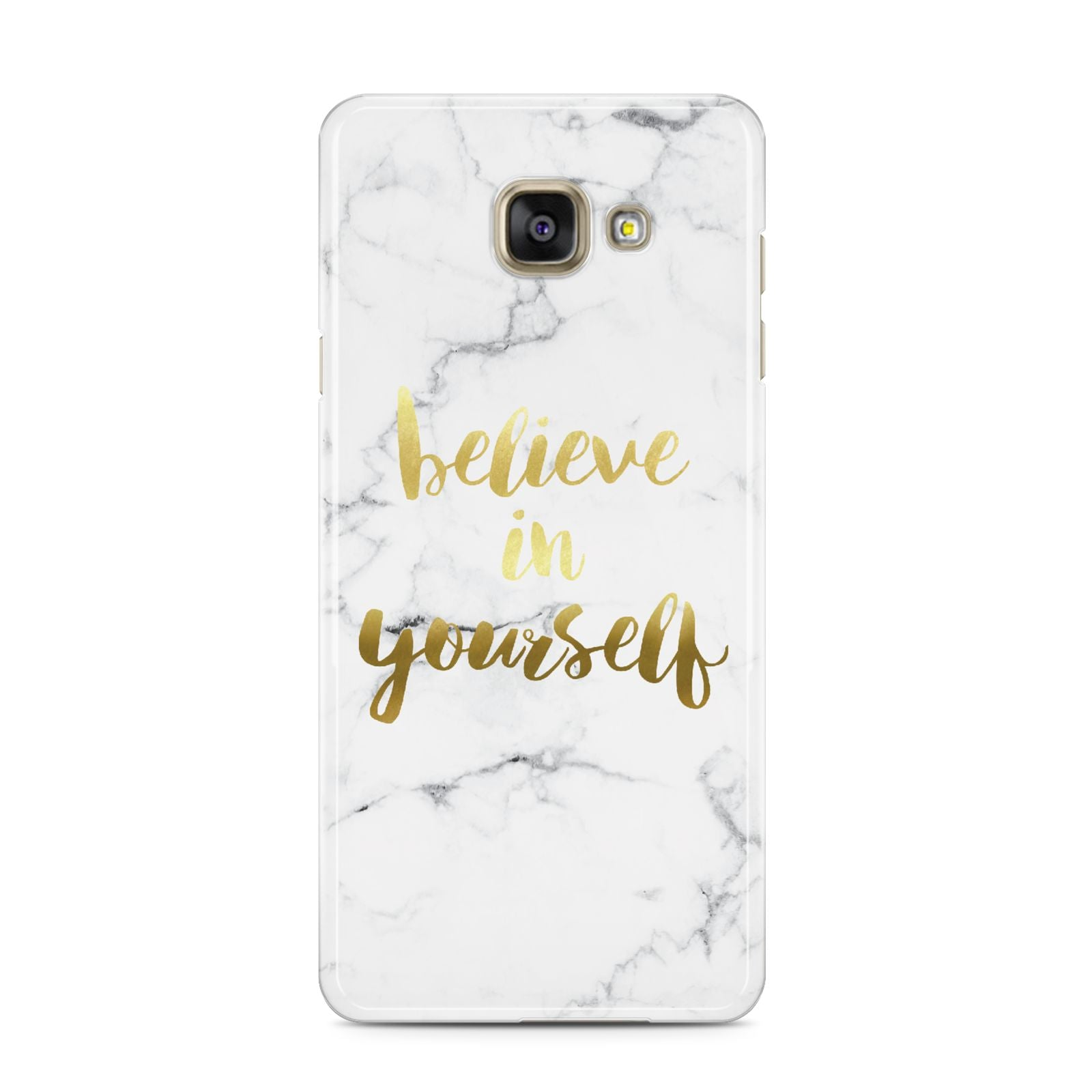 Believe In Yourself Gold Marble Samsung Galaxy A3 2016 Case on gold phone
