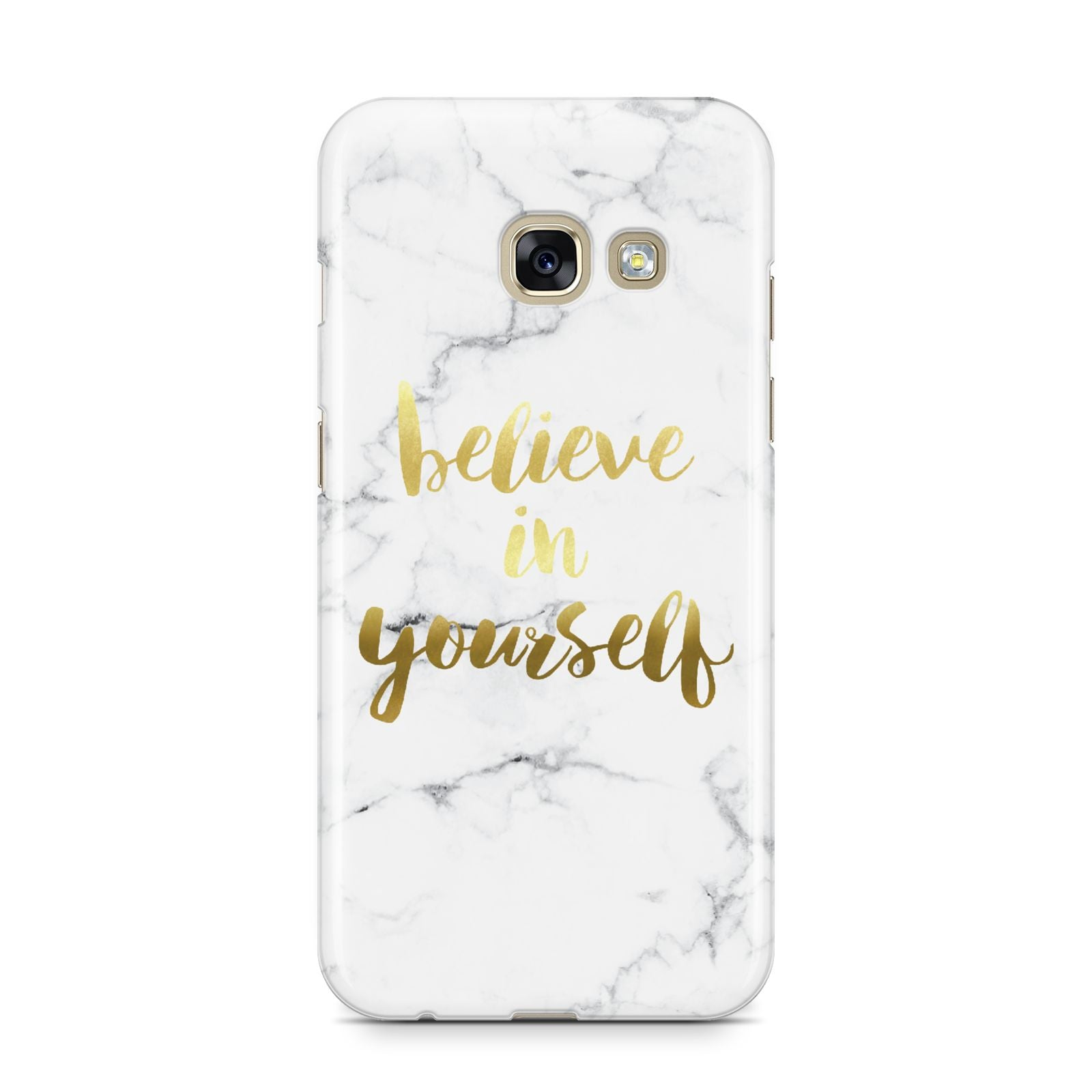 Believe In Yourself Gold Marble Samsung Galaxy A3 2017 Case on gold phone