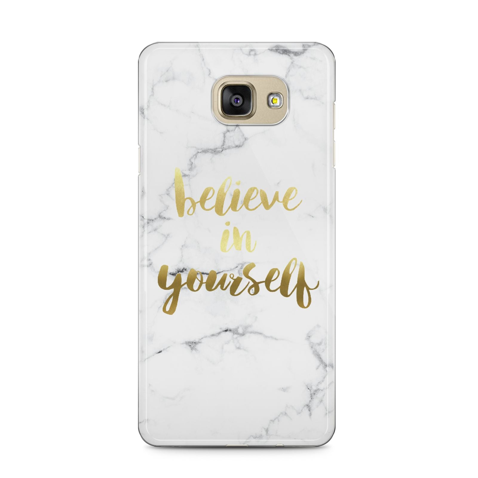 Believe In Yourself Gold Marble Samsung Galaxy A5 2016 Case on gold phone
