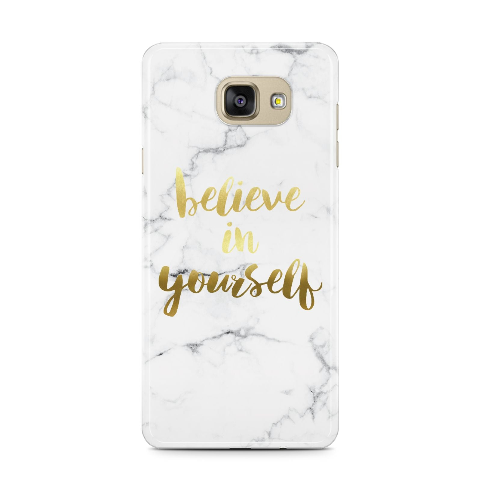 Believe In Yourself Gold Marble Samsung Galaxy A7 2016 Case on gold phone