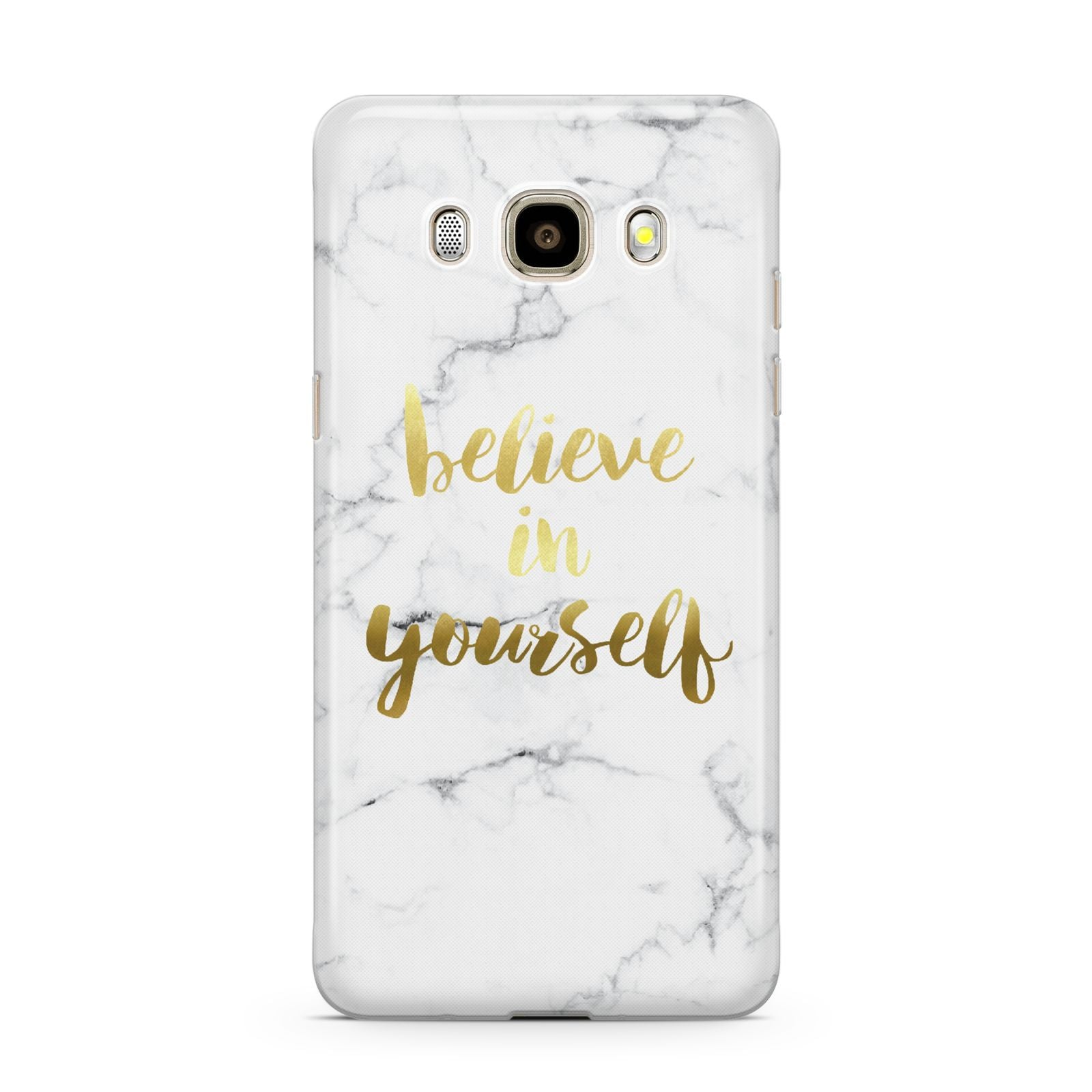 Believe In Yourself Gold Marble Samsung Galaxy J7 2016 Case on gold phone