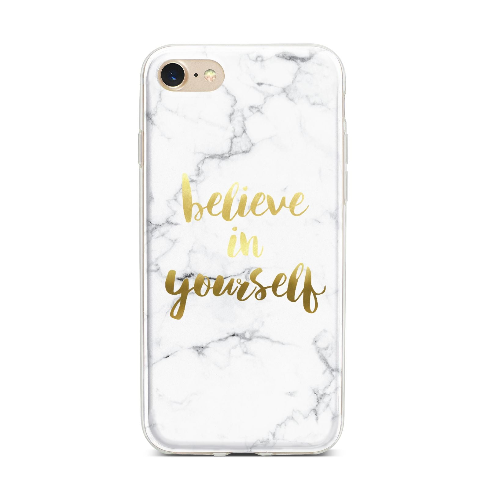 Believe In Yourself Gold Marble iPhone 7 Bumper Case on Gold iPhone