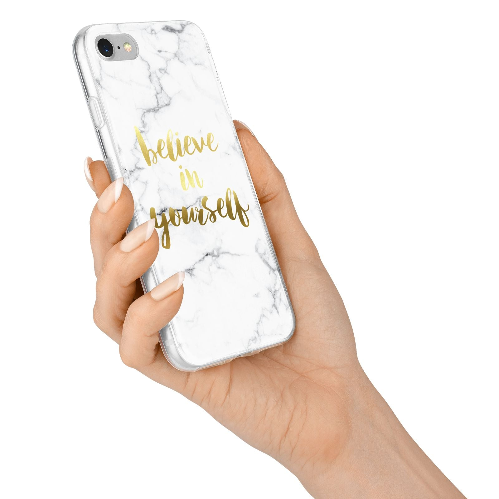 Believe In Yourself Gold Marble iPhone 7 Bumper Case on Silver iPhone Alternative Image