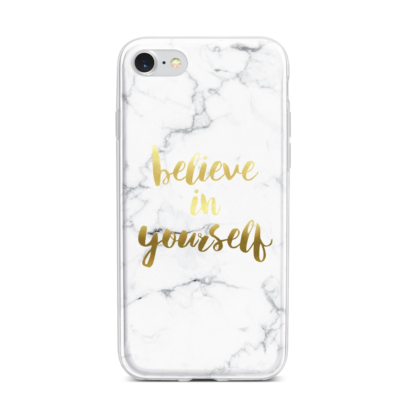 Believe In Yourself Gold Marble iPhone 7 Bumper Case on Silver iPhone