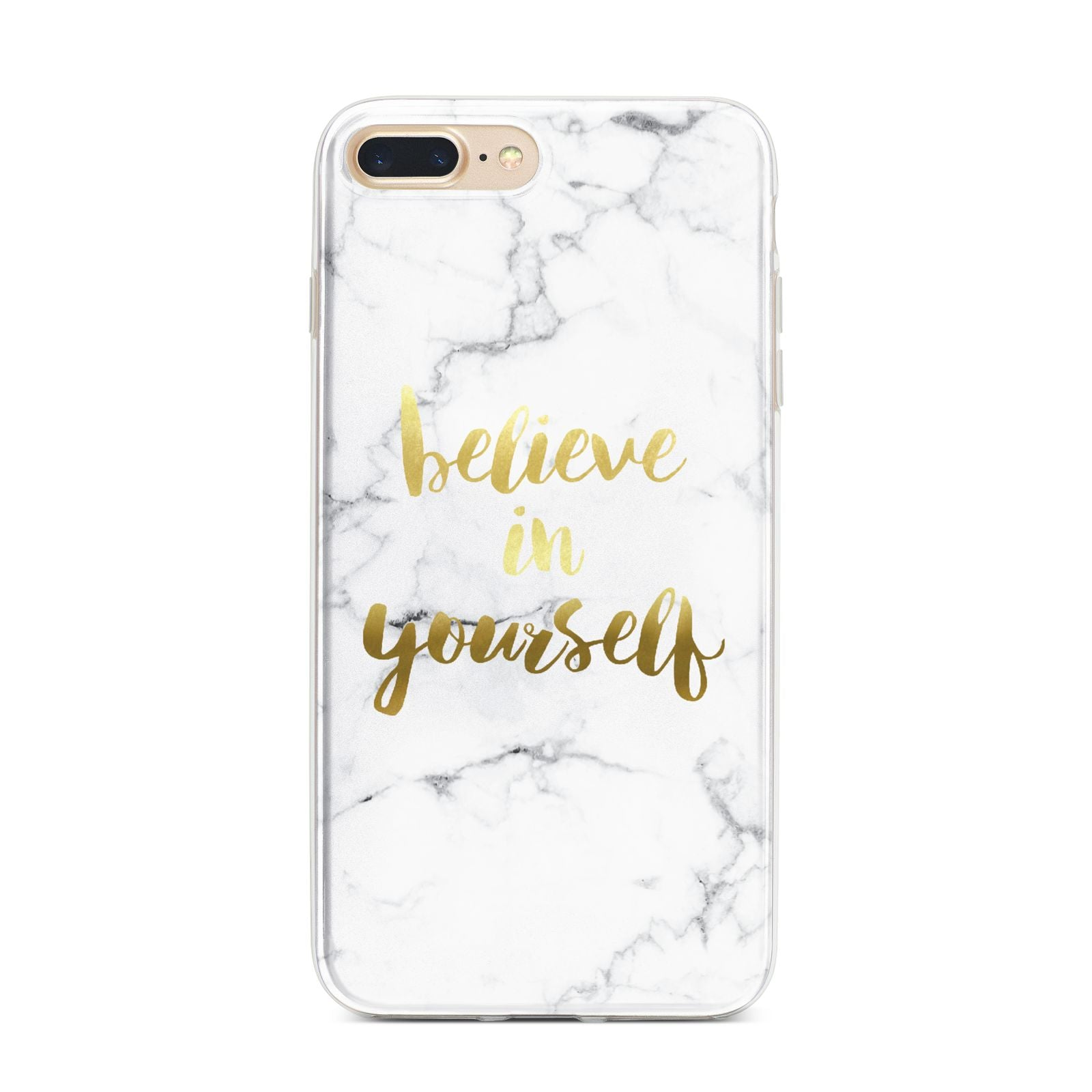 Believe In Yourself Gold Marble iPhone 7 Plus Bumper Case on Gold iPhone