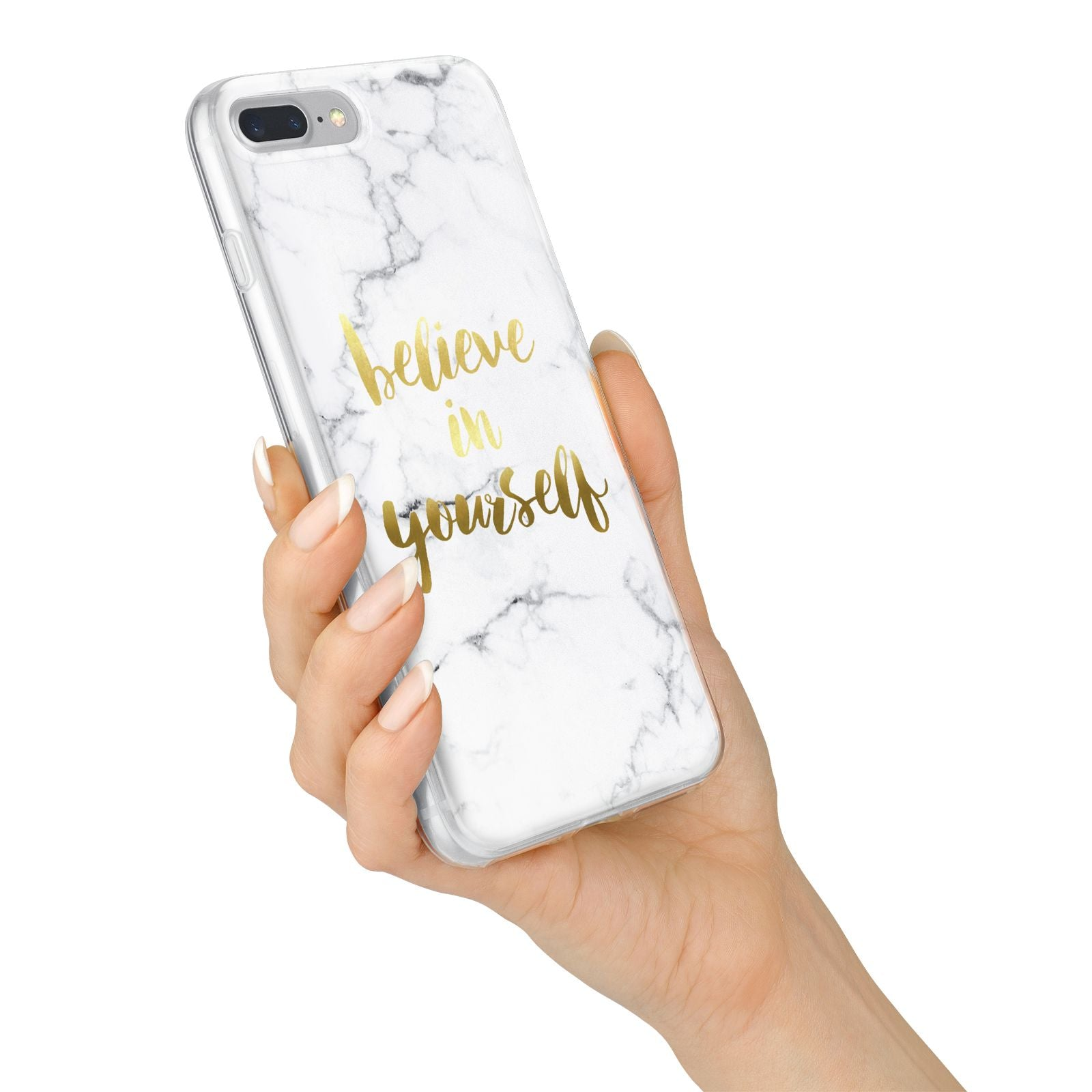 Believe In Yourself Gold Marble iPhone 7 Plus Bumper Case on Silver iPhone Alternative Image