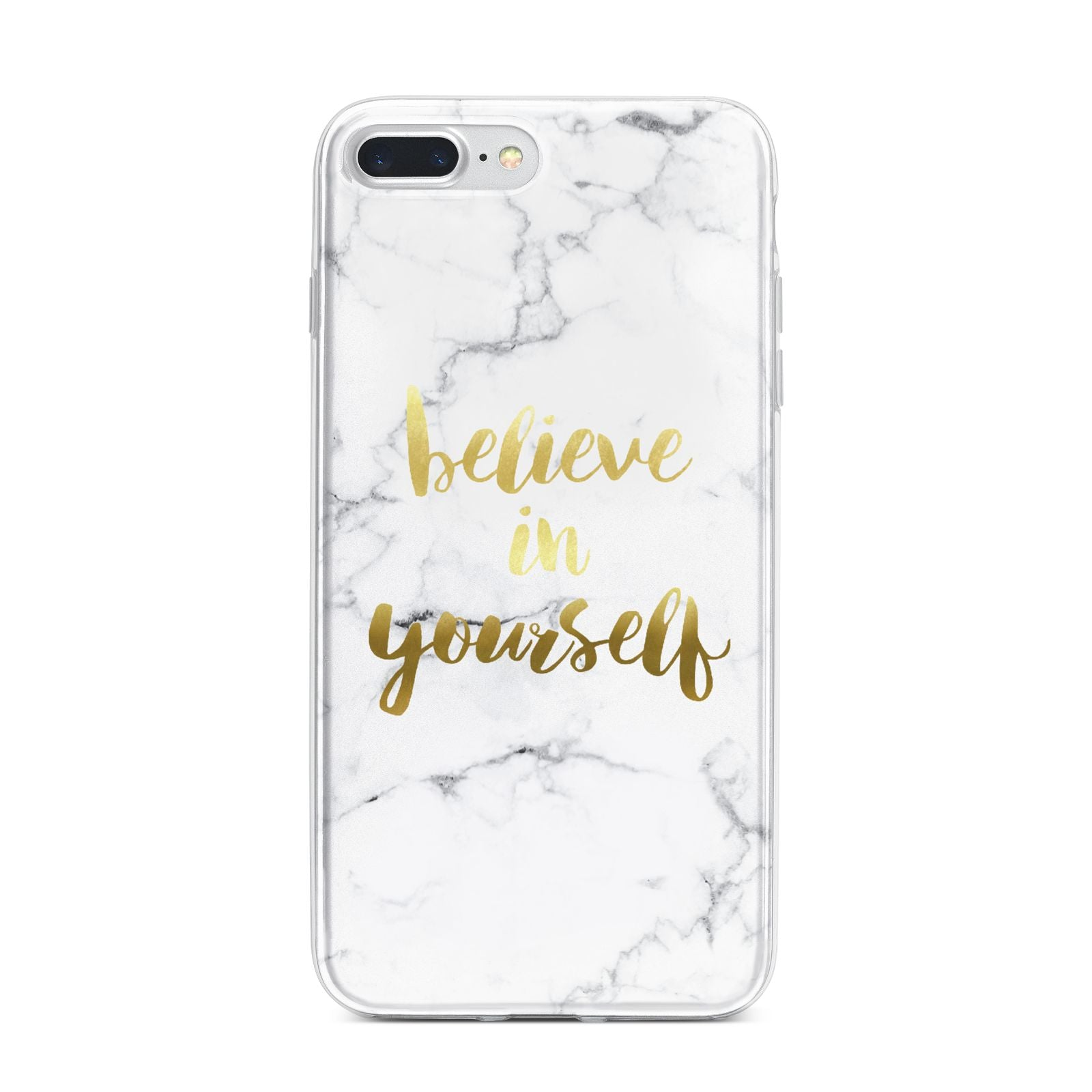 Believe In Yourself Gold Marble iPhone 7 Plus Bumper Case on Silver iPhone