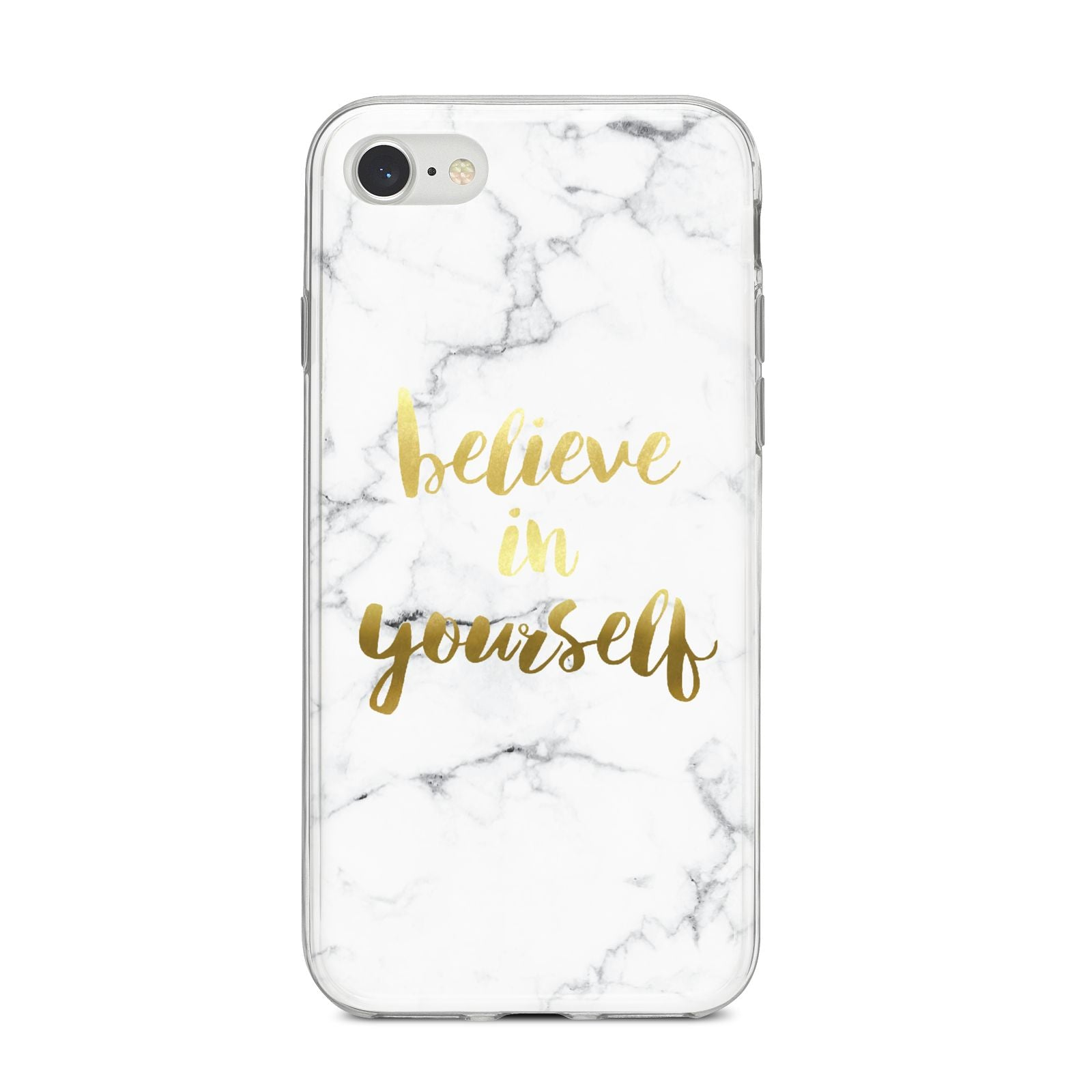 Believe In Yourself Gold Marble iPhone 8 Bumper Case on Silver iPhone