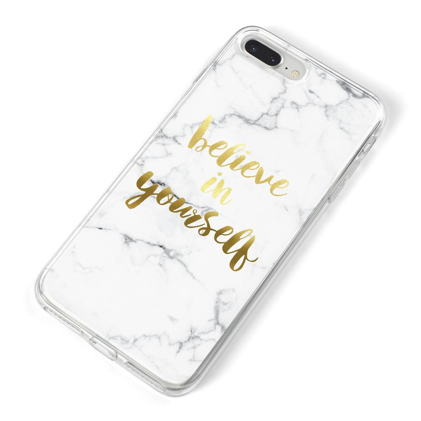 Believe In Yourself Gold Marble iPhone 8 Plus Bumper Case on Silver iPhone Alternative Image