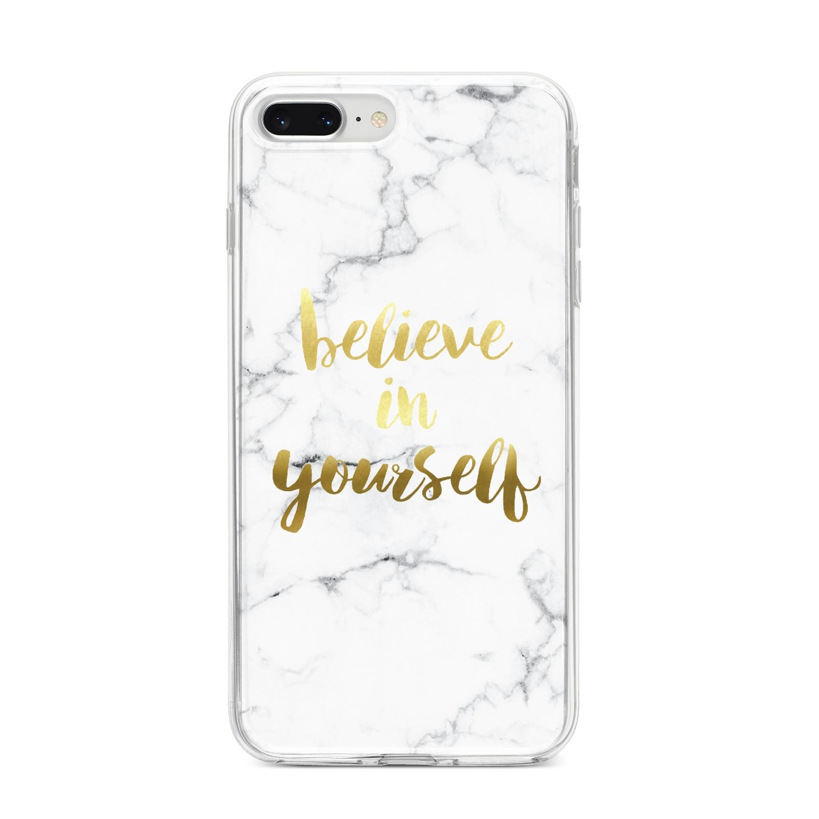 Believe In Yourself Gold Marble iPhone 8 Plus Bumper Case on Silver iPhone