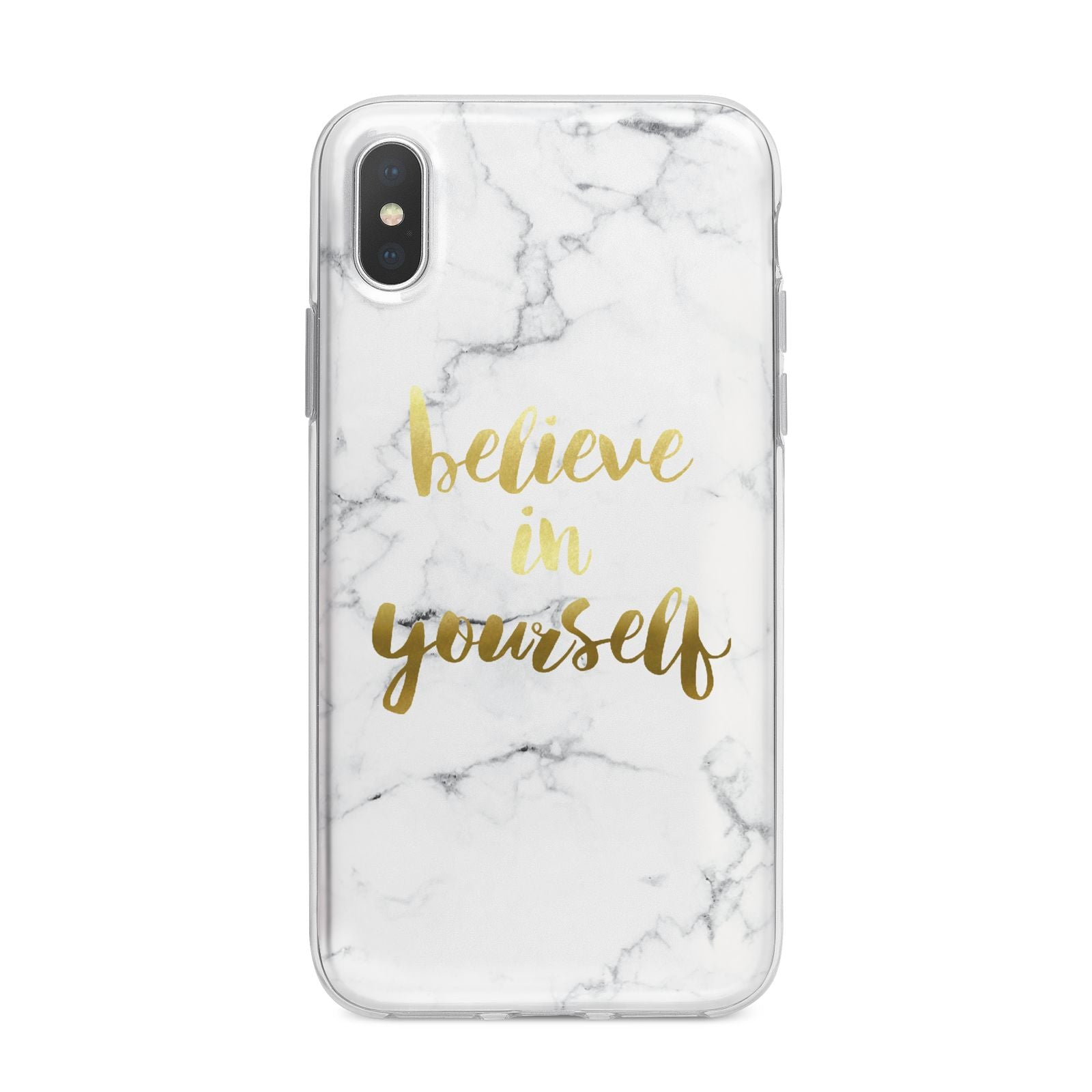 Believe In Yourself Gold Marble iPhone X Bumper Case on Silver iPhone Alternative Image 1