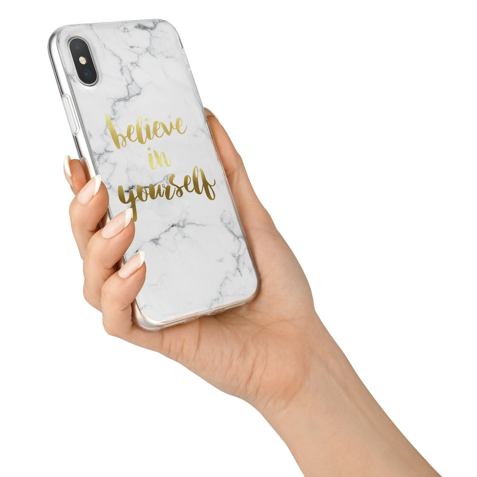 Believe In Yourself Gold Marble iPhone X Bumper Case on Silver iPhone Alternative Image 2