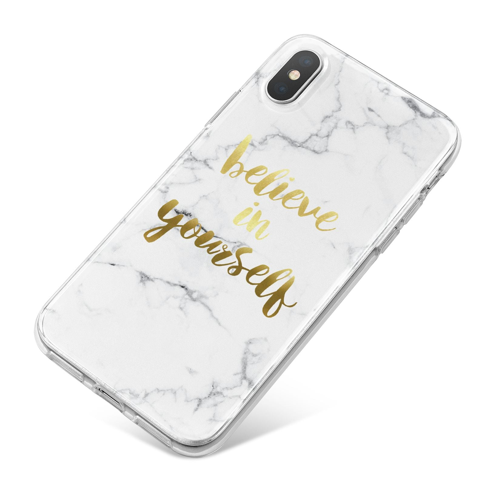 Believe In Yourself Gold Marble iPhone X Bumper Case on Silver iPhone
