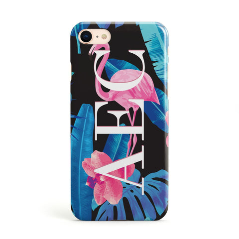 Black & Blue Tropical Flamingo Apple iPhone Case