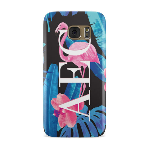 Black & Blue Tropical Flamingo Samsung Galaxy Case