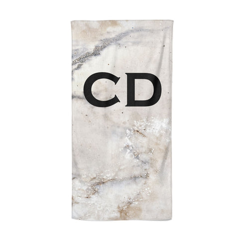 Black Initials Yellow Marble Beach Towel