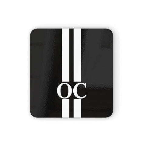 Black Personalised Initials Coasters set of 4