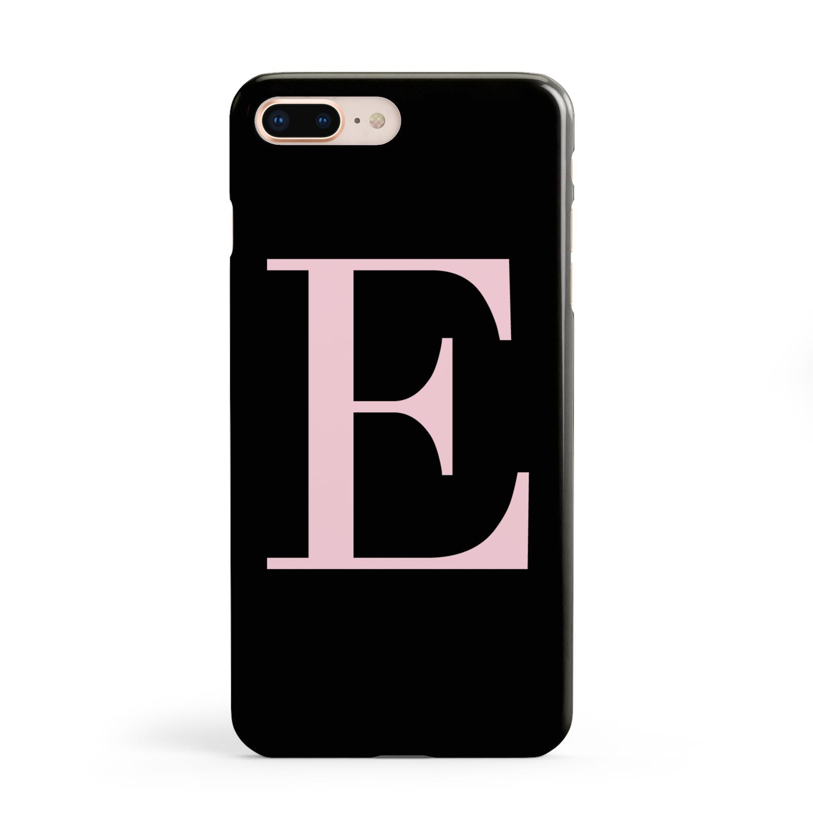 Black with Pink Personalised Monogram Apple iPhone 8 Plus Case