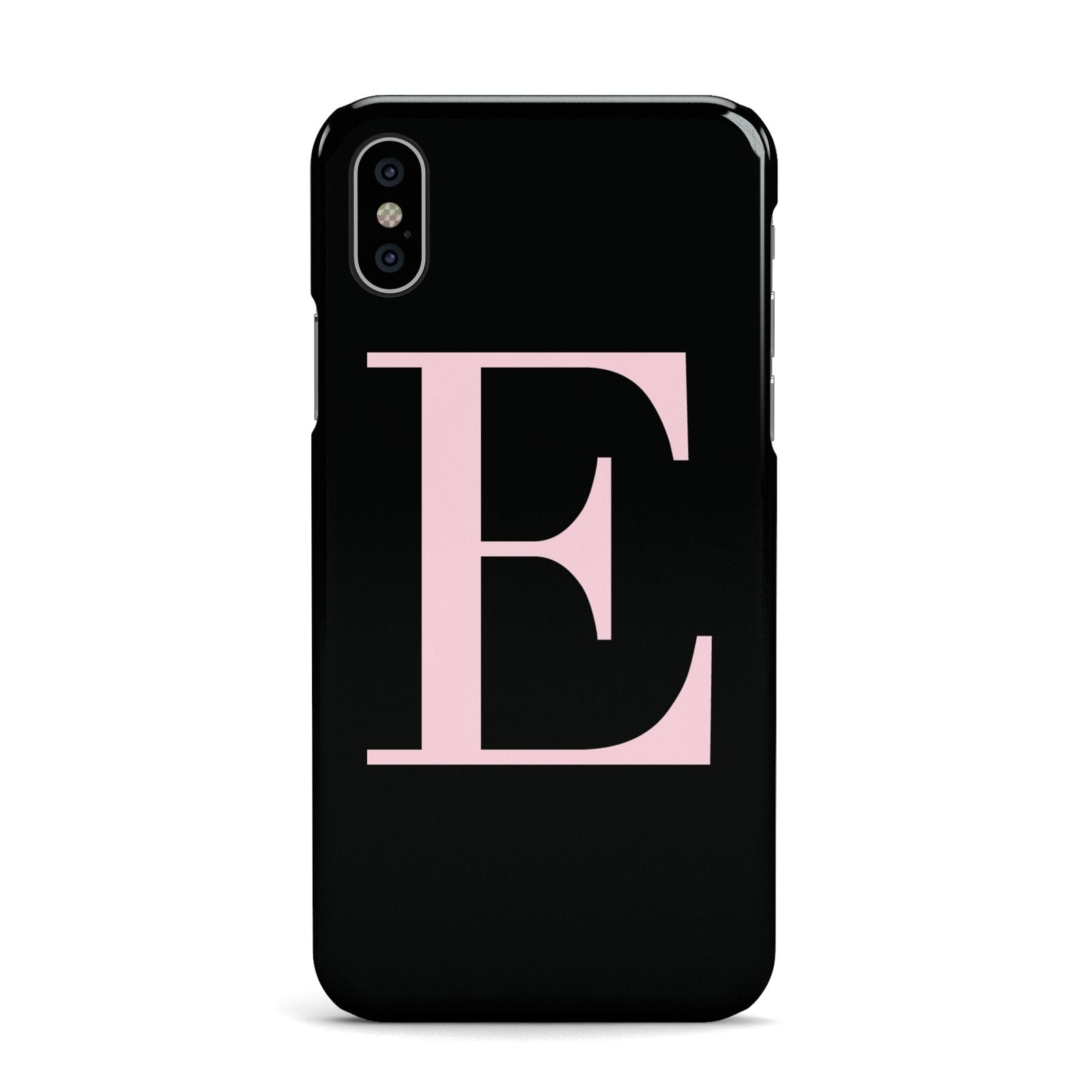 Black with Pink Personalised Monogram Apple iPhone X Case