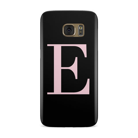 Personalised Black With Pink Monogram Samsung Galaxy Case