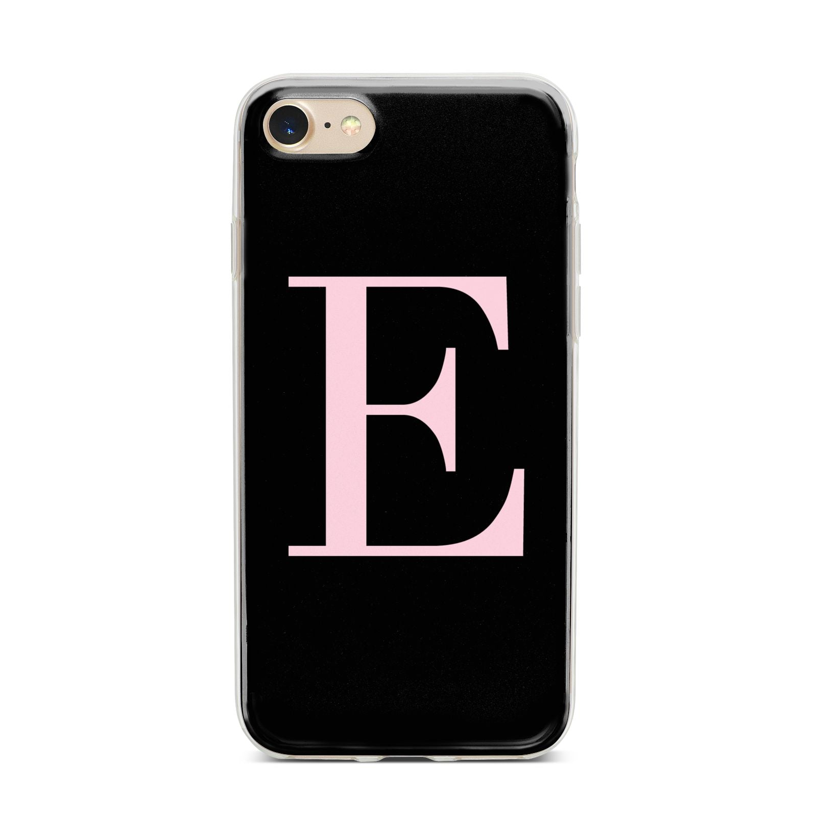 Black with Pink Personalised Monogram iPhone 7 Bumper Case on Gold iPhone