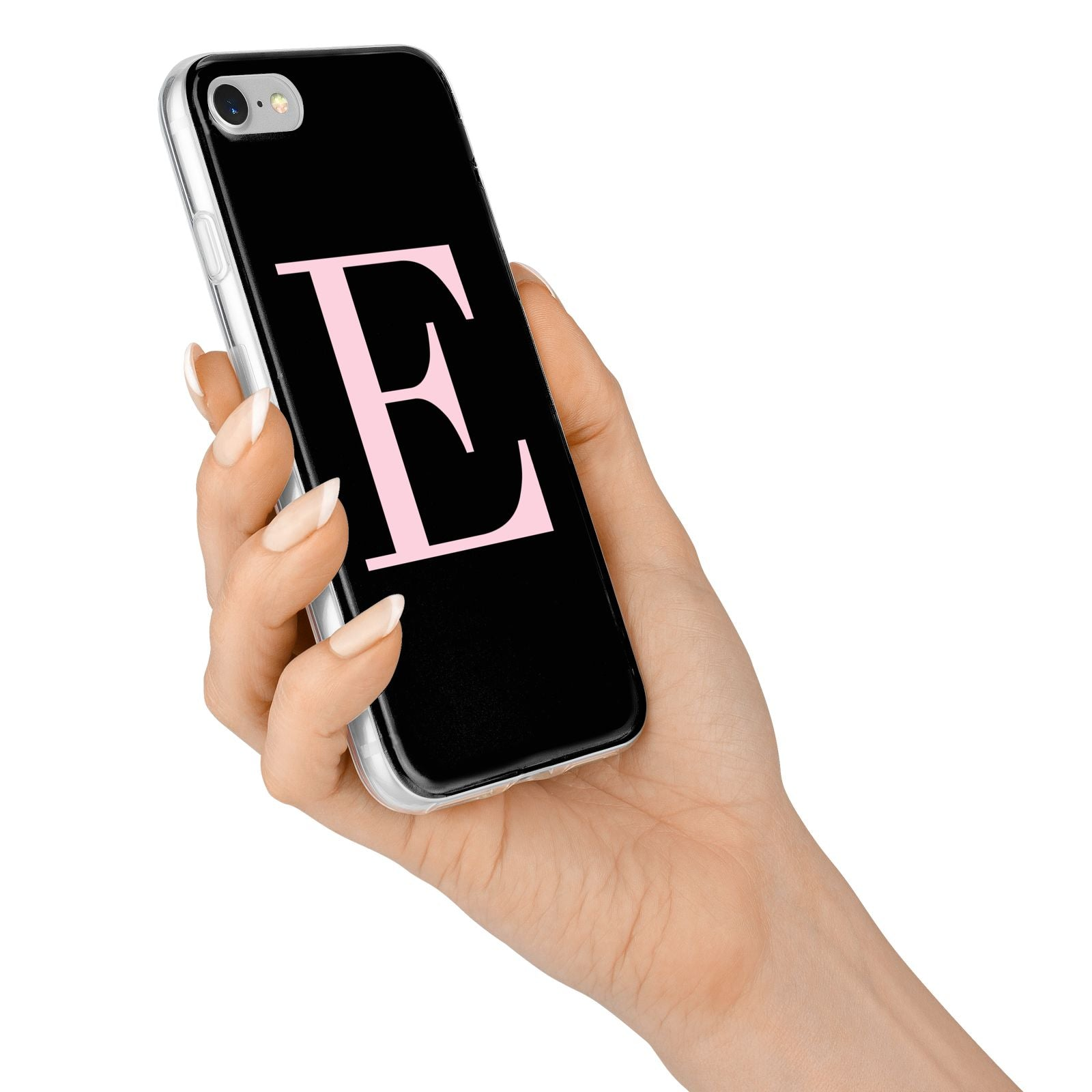 Black with Pink Personalised Monogram iPhone 7 Bumper Case on Silver iPhone Alternative Image