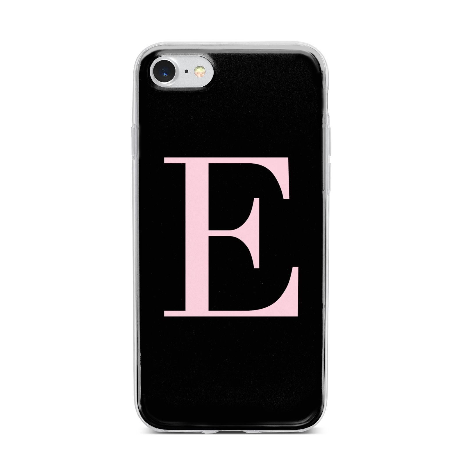 Black with Pink Personalised Monogram iPhone 7 Bumper Case on Silver iPhone