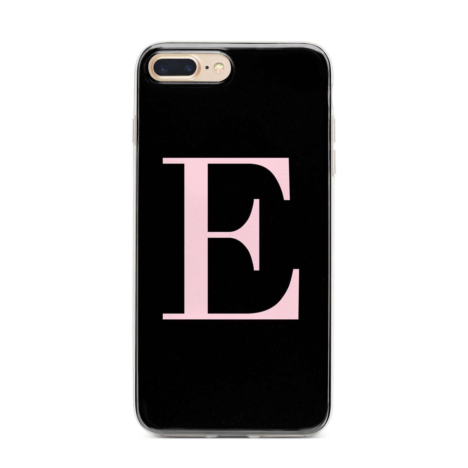 Black with Pink Personalised Monogram iPhone 7 Plus Bumper Case on Gold iPhone