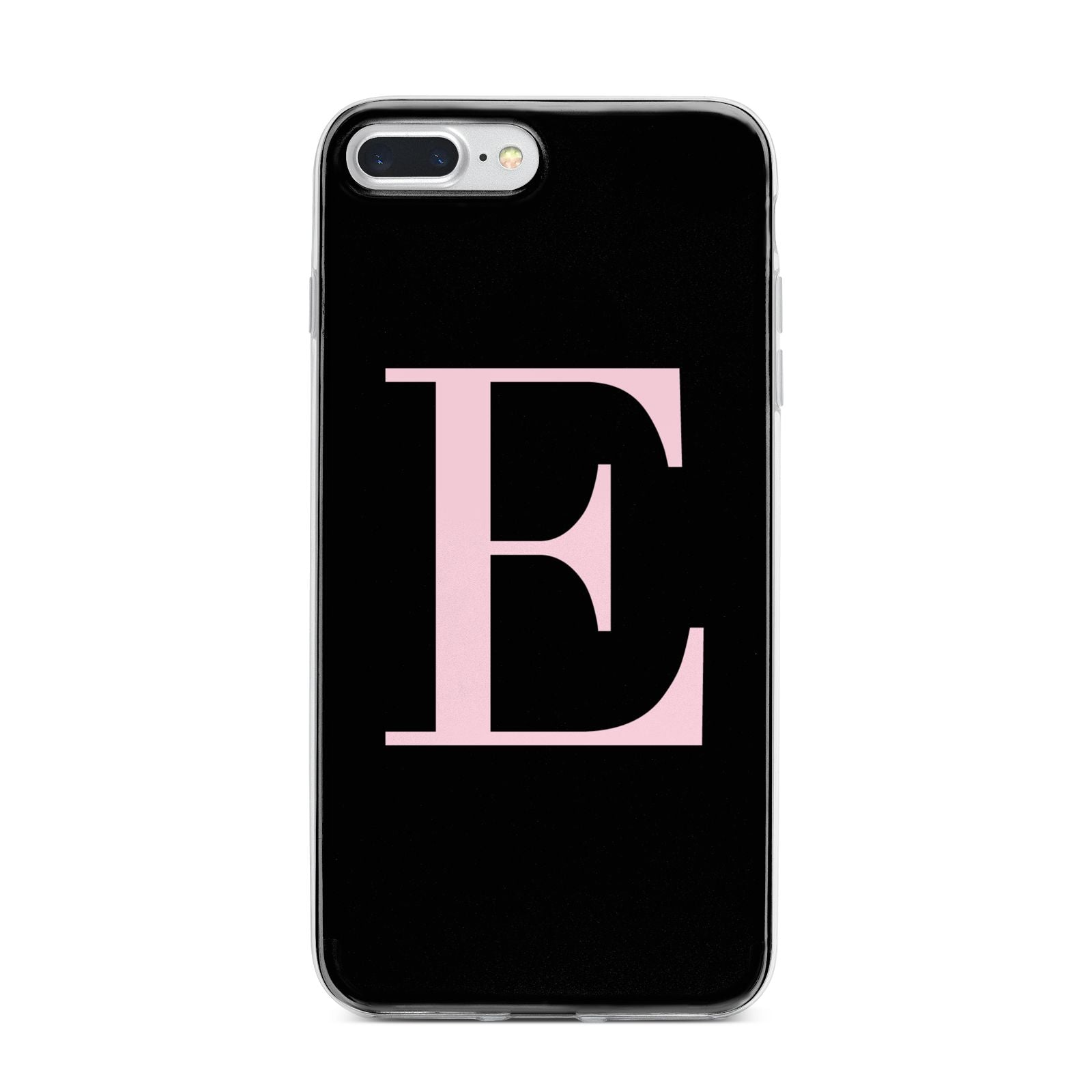 Black with Pink Personalised Monogram iPhone 7 Plus Bumper Case on Silver iPhone