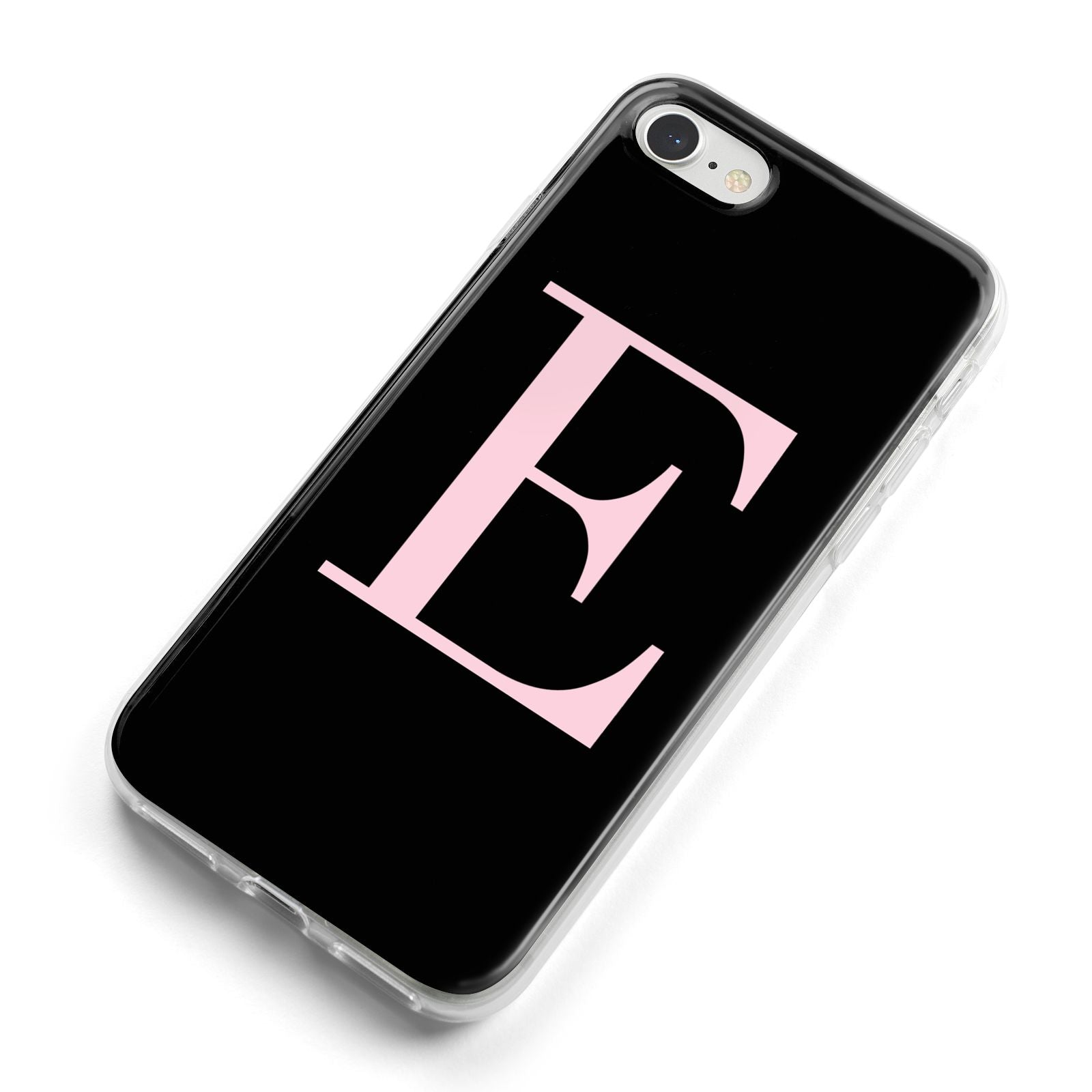 Black with Pink Personalised Monogram iPhone 8 Bumper Case on Silver iPhone Alternative Image